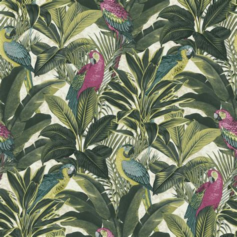 banana leaf wallpaper ebay new grandeco ideco exotic bird pattern parrot motif