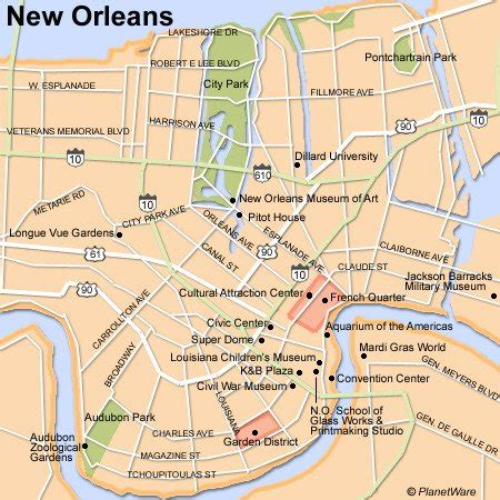 new orleans map 15 top tourist attractions in new orleans planetware
