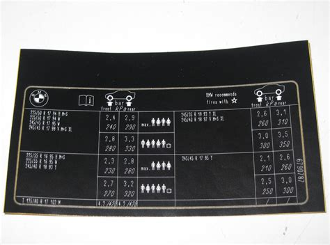 Bmw E61 Aufkleber by Bmw E61 Reifendruck Chart Tisch Etikett Aufkleber 6790787