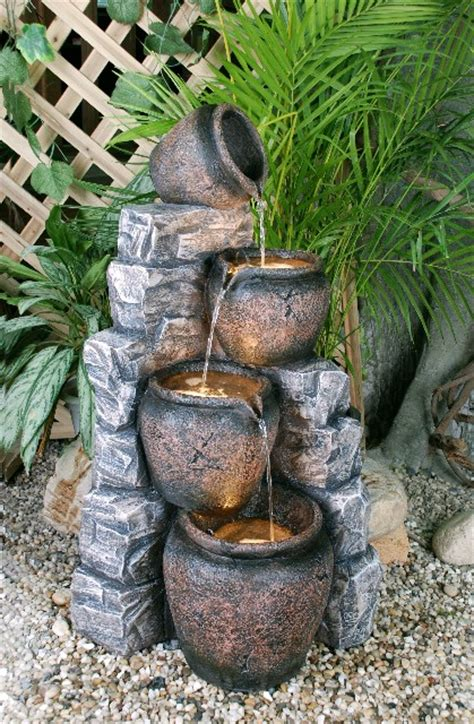 pot cascading water feature  led lights