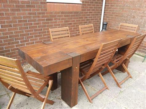 Railway Sleeper Table by Garden Table From 2 4m New Railway Sleepers