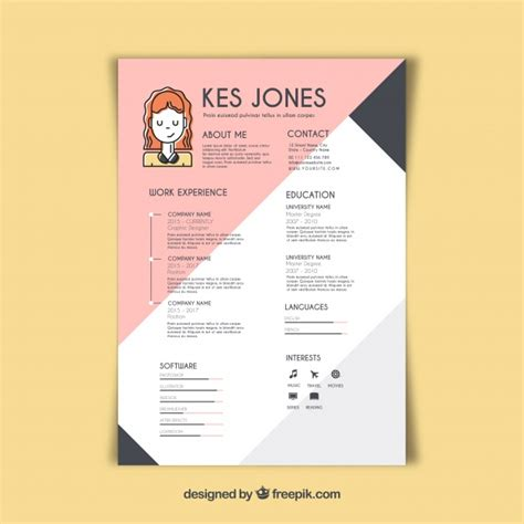 Graphic Design Resume Template by Graphic Designer Resume Template Vector Free