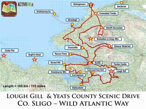 driving route map sligo scenic drive lough gill and yeats county route map