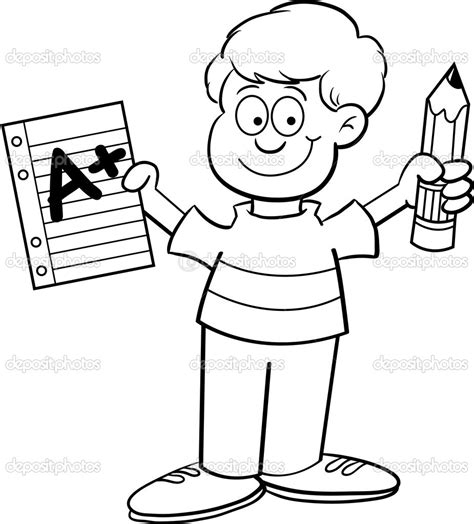 cartoon boy coloring page cartoon illustration of a boy holding a paper and a pencil