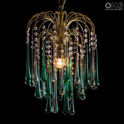 Green Chandelier Lighting Drop Chandelier In Green Clear Glass Original Murano Glass Omg