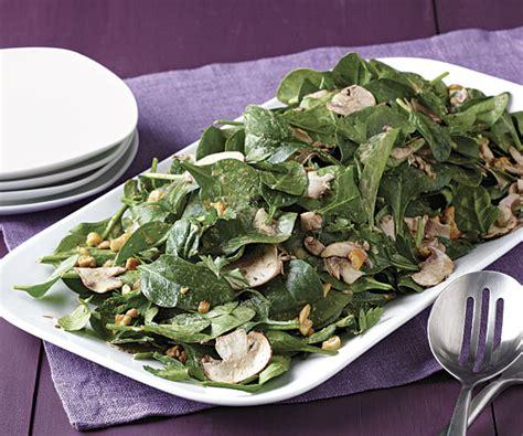 spinach  mushroom salad  miso tahini dressing