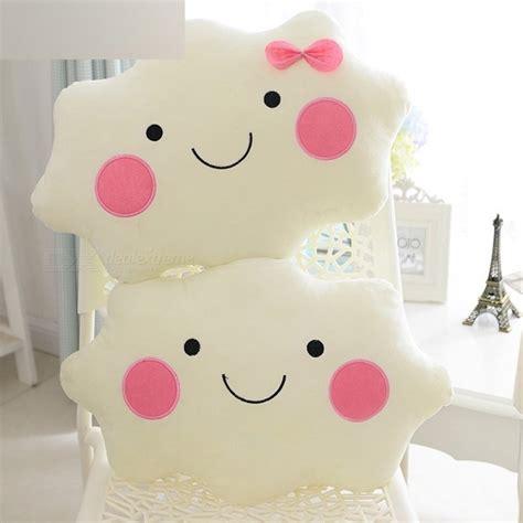 Tirai Manik Kawaii Soft Plush Smiley Bow Cloud Pillow 100 Cotton