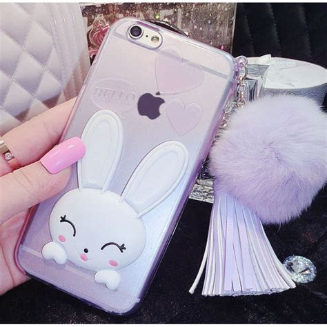 Softcase Rabbit Fur Series Iphone 6 6s 1 tassel rabbit fur soft bunny silicone for iphone 6 6s 4 7inch purple chicleader