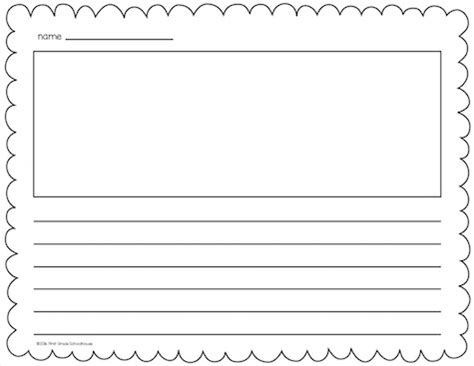 free printable lined paper with picture box classroom freebies writing paper