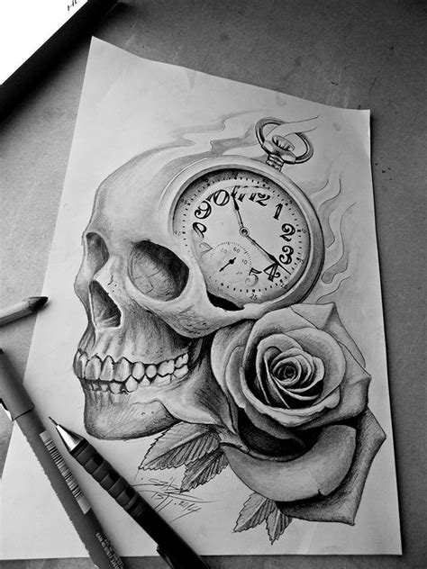 tattoo rose and clock skull clock design tattoos