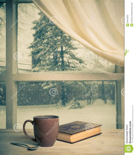 the in my window books snowy view editorial image image 49472350