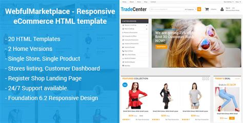 Webful Marketplace Responsive Ecommerce Html Template Tfx Fxtheme Marketplace Website Template Free