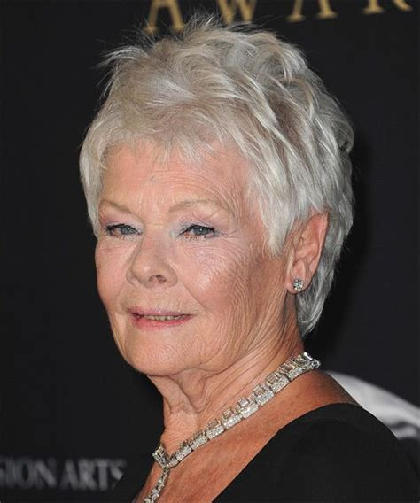 images ofdame judy dench pixie hairstyles front and back judi dench short straight casual hairstyle light grey