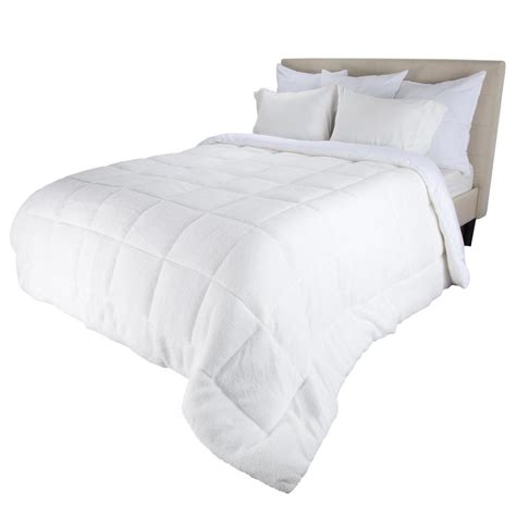 sherpa comforter twin bluestone oversized reversible white down alternative