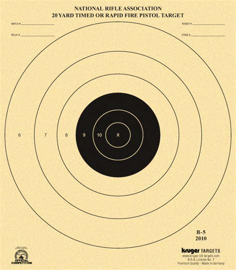 printable pistol 10 yard targets 20 yard timed or rapid fire pistol target nra b 5 nra