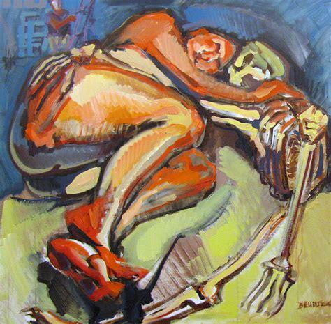 reclining pose of a figure painting by shant beudjekian