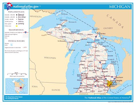 usa map michigan state large detailed map of michigan state michigan state