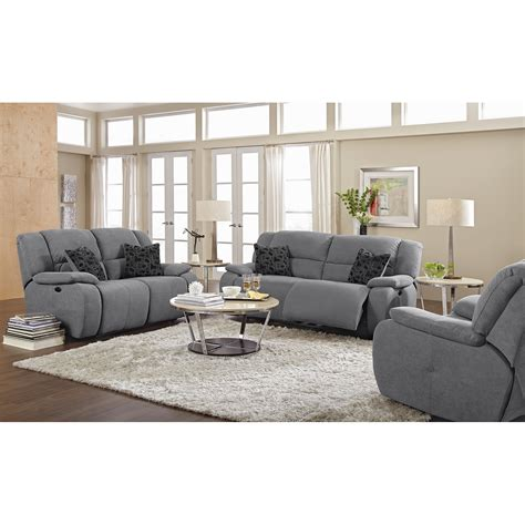 majestic gray fabric upholstery reclining sofa set as