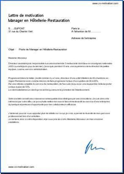Exemple Lettre De Motivation Hotellerie Restauration Lettre De Motivation Manager En H 244 Tellerie Restauration Donnez Votre Avis