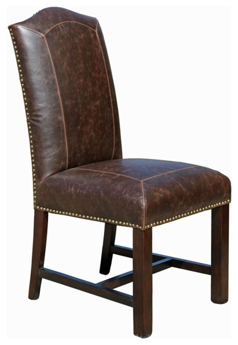 distressed leather dining chair transitional dining