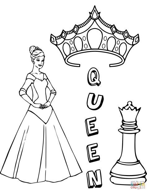 Chess King Coloring Page | queen chess piece coloring page free printable coloring
