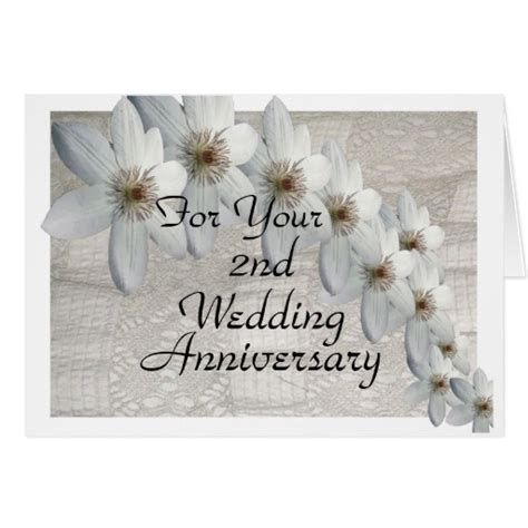 2nd Anniversary Card Template by 2nd Wedding Anniversary Card Traditional Template Zazzle