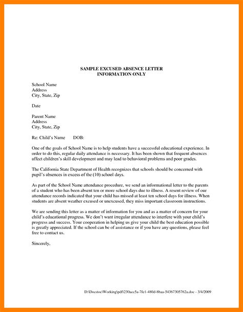 excuse letter format school school absence excuse note resume format