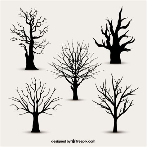 tree silhouettes without leaves vector free download