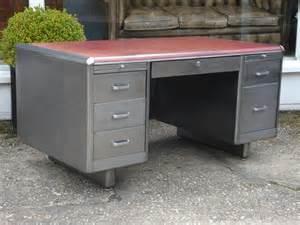 Square Pedestal Tables Sold 20th Century Polished Steel Desk Antique Desks