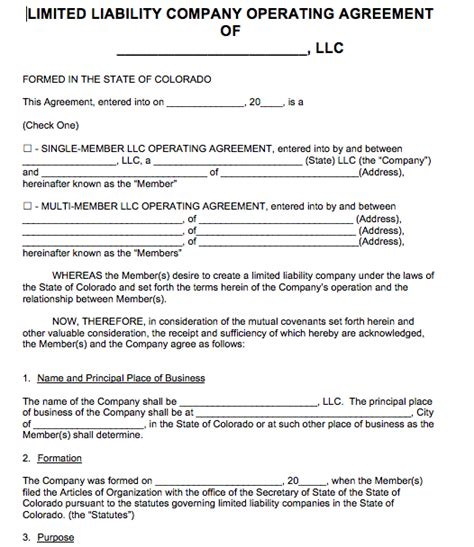 free colorado llc operating agreement template pdf word