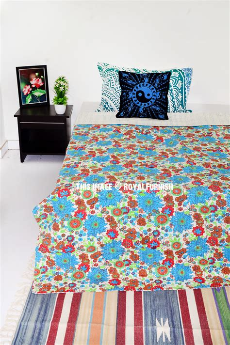 Turquoise Quilts For Sale Turquoise Floral Leafs Boho Style Kantha Quilt Throw