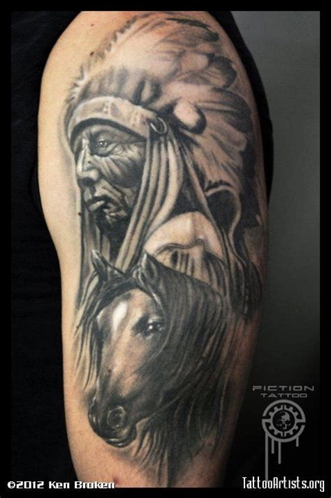 indian tattoos black and grayindian chief w horse