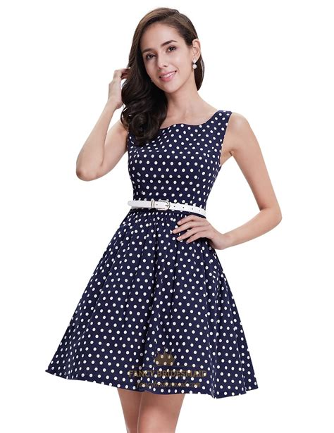 Summer Flare Dress navy polka dot fit and flare shift summer dress with white