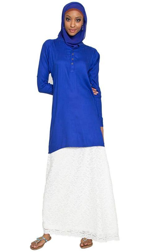 Tunik Blouse Muslim Melita prima blue islamic tunic with lace maxi skirt islamic clothing at artizara islamic