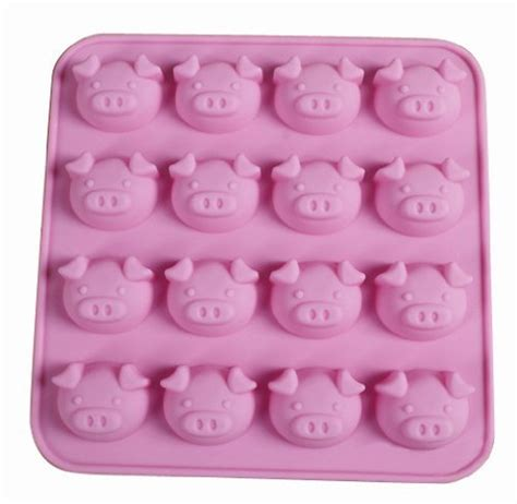 Silicone Baking Pig Expression 4x4 cool 3d silicone soap mold 16 cavities lovely pig cartooon animals shape cube mold