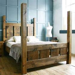 Bed Frame Post Ideas Handmade Solid Wood Rustic Chunky Slatted Four Poster Double Kingsize Bed Frame Rustic Beds