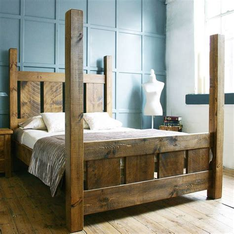 Wooden Four Poster Bed Frames Handmade Solid Wood Rustic Chunky Slatted Four Poster Kingsize Bed Frame Rustic Beds