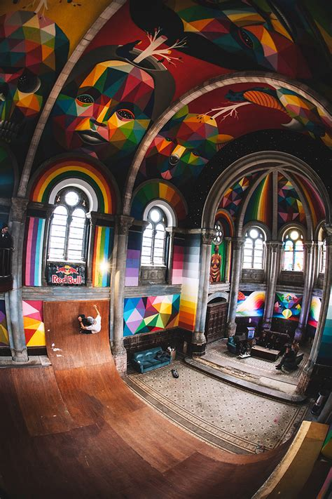 Kaos Theater 04 Tpm Shop okuda san miguel paints colorful mural within converted church s indoor skate park