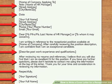 steps to writing a cover letter wonderful exle of a cover letter for receptionist