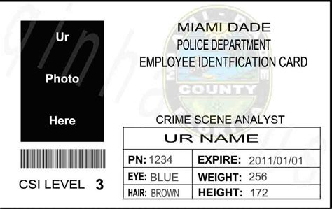 usa id card template ems to usa custom personalized ur pic us csi miami dade