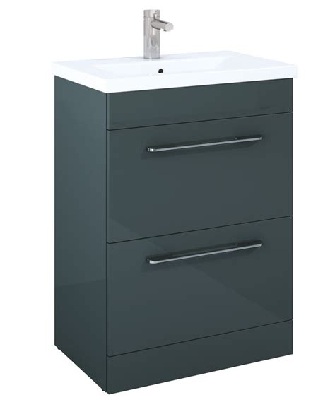 Space Saver Vanity Units by Carla Anthracite 2 Drawer 60cm Vanity Unit And Basin With