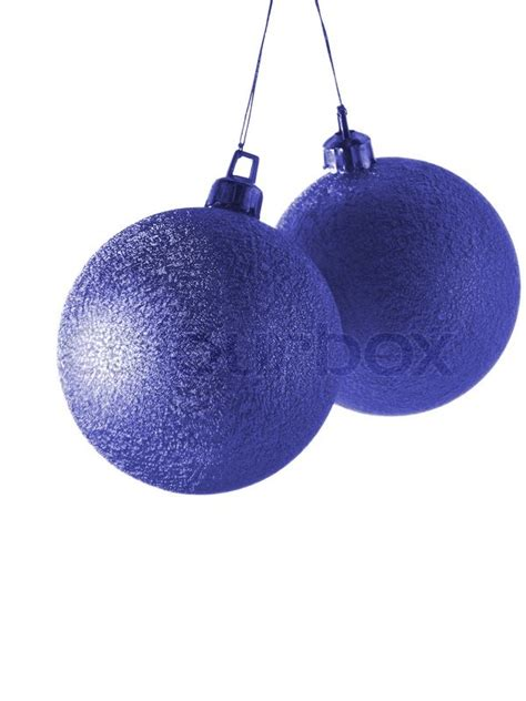deep blue christmas balls isolated  white background stock photo colourbox