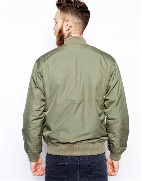 Parka Jacket Sweater Jaket Jaket Bomber Jaket Wanita wood wood contrast bomber jacket in green for lyst