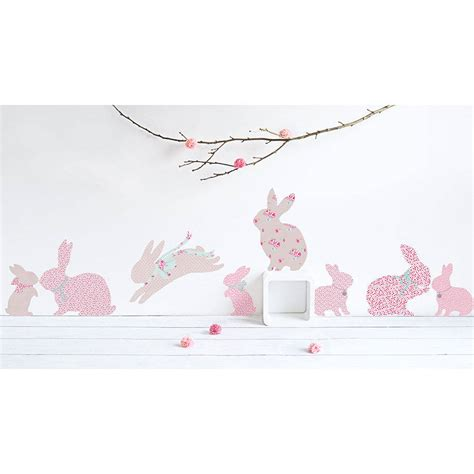 Girls Wall Mural children s rabbit wall stickers by koko kids