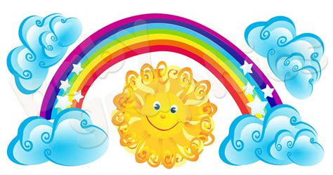 Fairy Wall Stickers Uk rainbow sun amp clouds large wall stickers removable