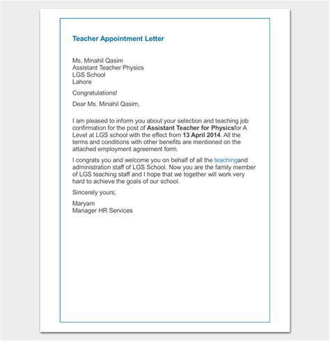 appointment letter for a school appointment letter 9 sle exle word pdf