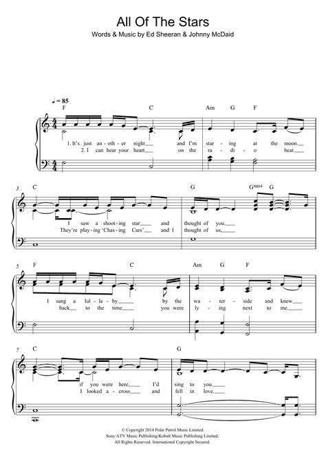 ed sheeran all of the stars chords ed sheeran all of the stars sheet music at stanton s