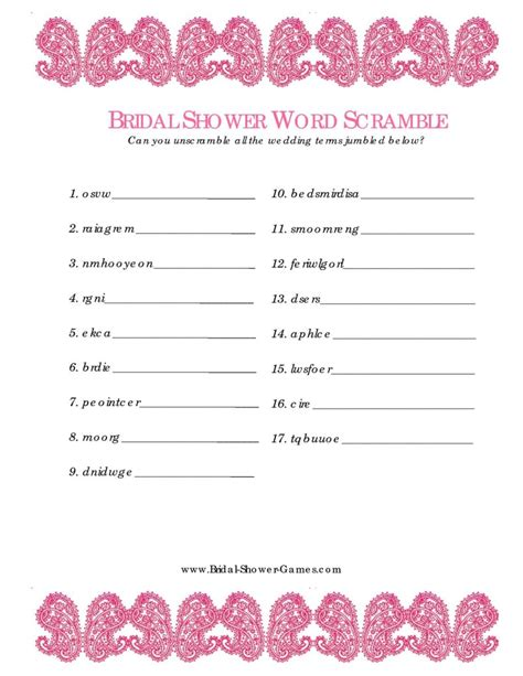 bridal shower word scramble 99 wedding ideas