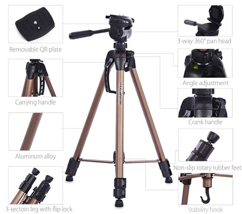 Tripod Dslr Malaysia weifeng wt3770 portable lightweight aluminum alloy tripod with carrying bag for dslr chagne