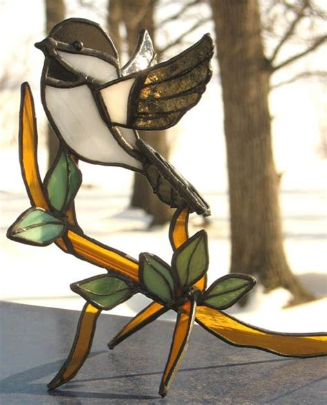 stained glass bird chickadee stained glass pinterest